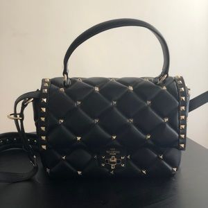 Valentino Candy Rockstud Quilted Leather Bag,Black